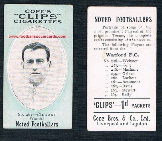 1908 Cope Brothers Noted Footballers 282 series #263 Stewart Watford